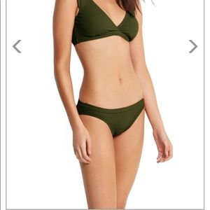 Seafolly Inka rib hipster bottom olive green us 8